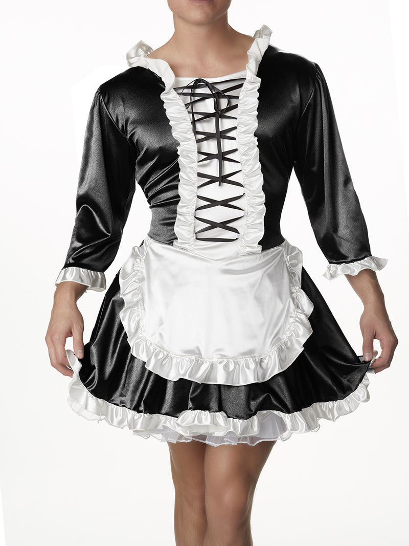 Men's Satin French Maid Dress