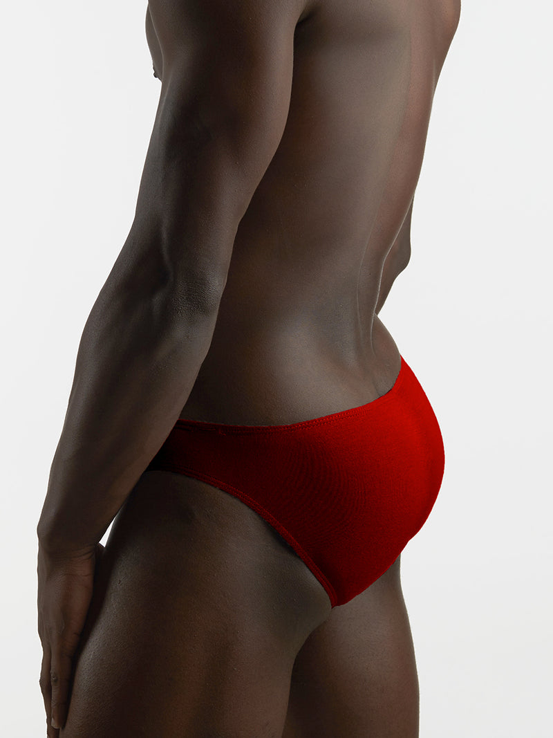 Men's red bikini cut panties