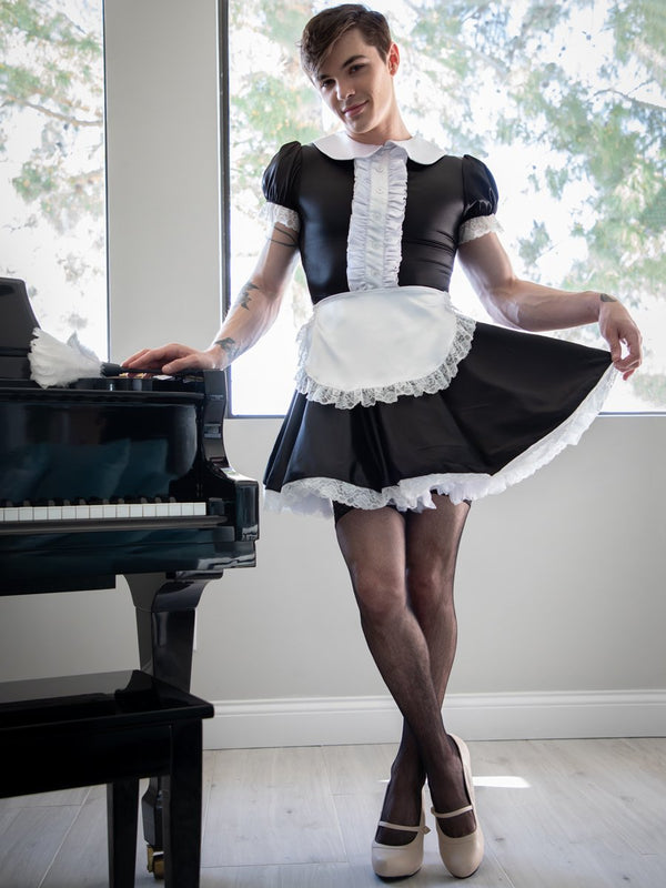 men's black satin maid dress