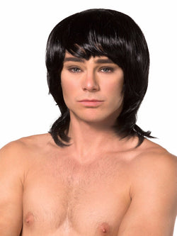 Men's black gothic mistress wig