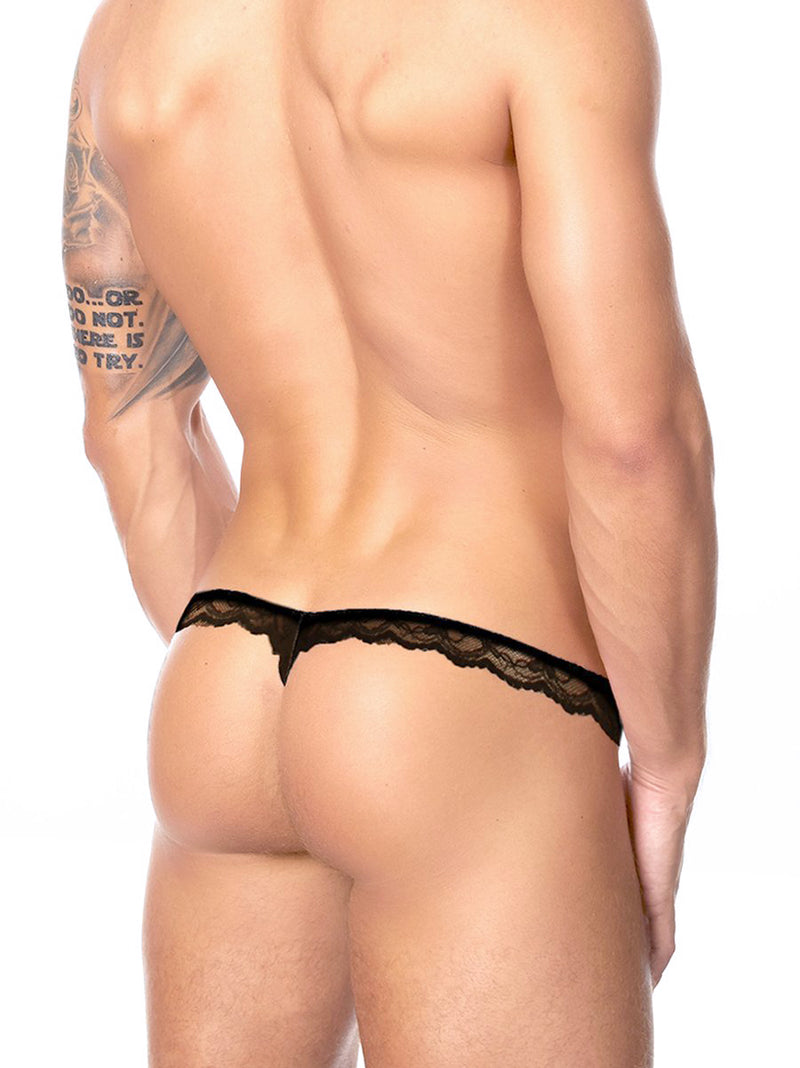 Men's black lace thong