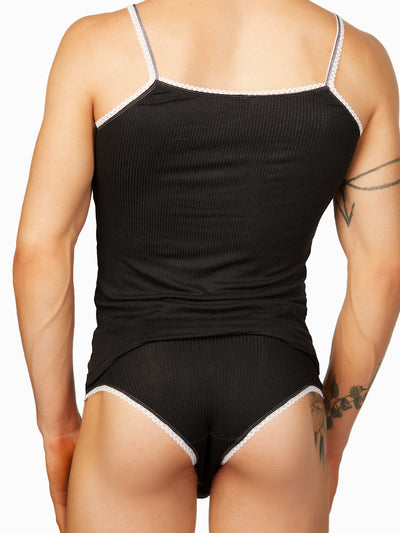 men's black ribbed camisole
