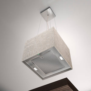 40cm Island LED Lamp Cooker Hood - Airforce Concrete - Ivory - Installed Example