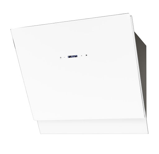 Baumatic BESW901WGL 90cm White Glass Angled Chimney Hood Touch Control