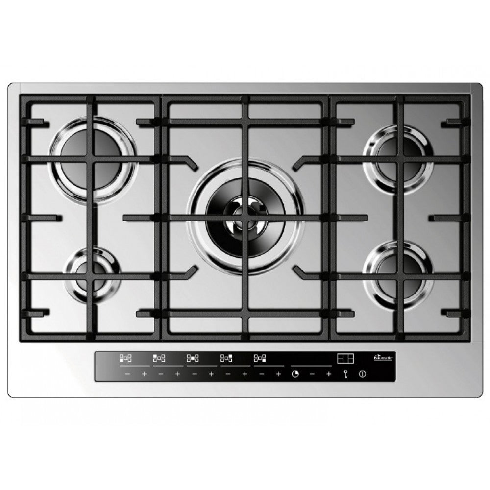 Baumatic Premium-Line BHG770SS 77cm Touch Control 5 Burner Gas Hob - Stainless Steel