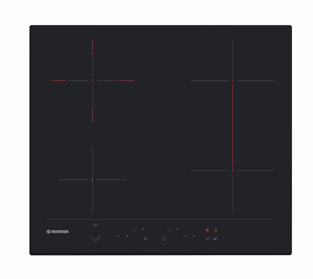 Hoover HH64DBB3P 60cm Touch Control Induction Hob With Bridge Zone - Black Glass - Birds Eye View