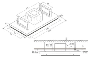 120cm Remote Control Ceiling Cooker Hood - Airforce F139 A - Technical Drawing