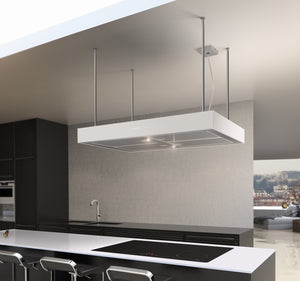 Airforce F161 2 x Axial Motor 90cm Premium Island Cooker Hood - White - Lifestyle Image
