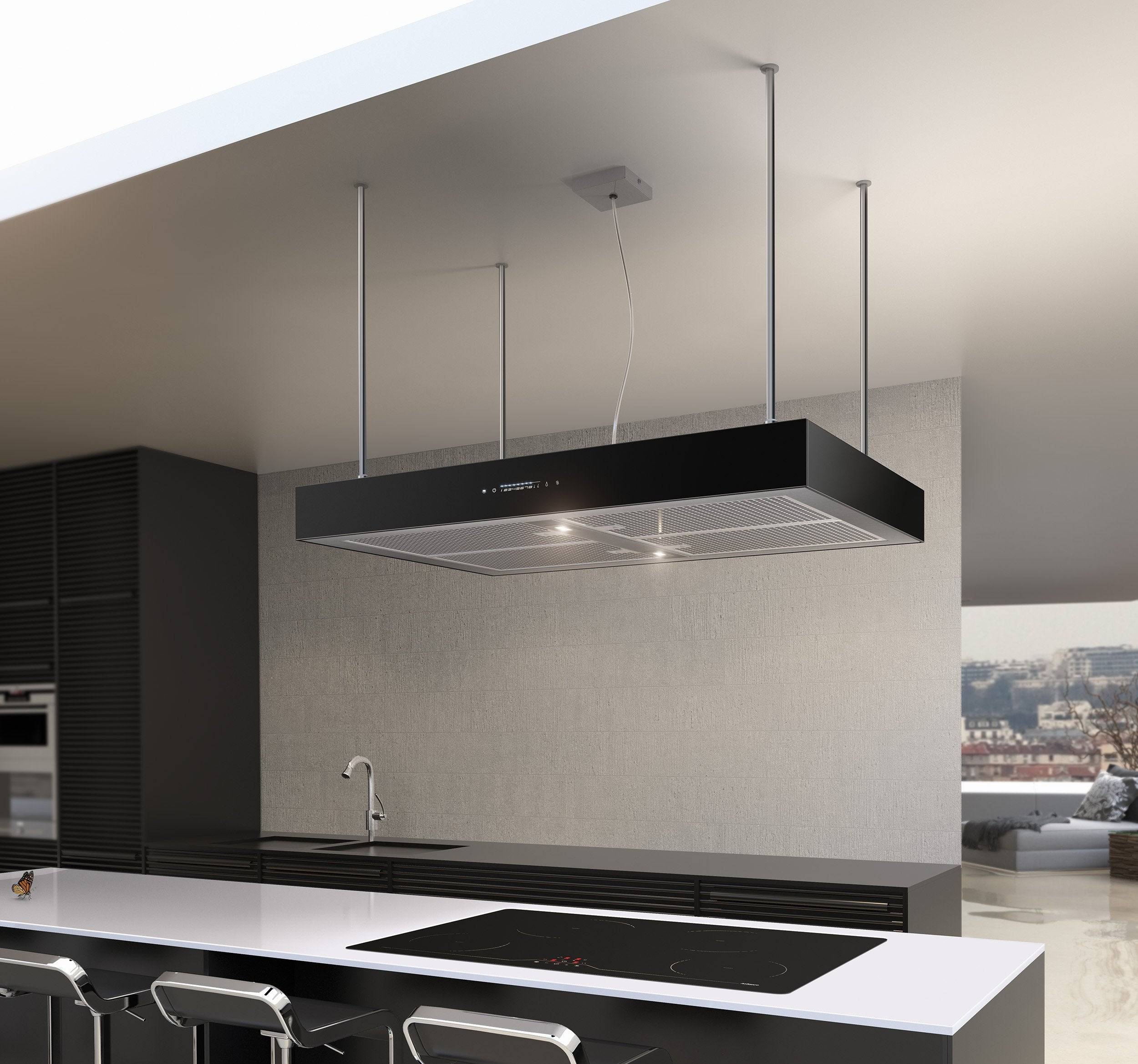 Airforce F161 4 x Axial Motor 90cm Premium Island Cooker Hood - Black - Lifestyle view