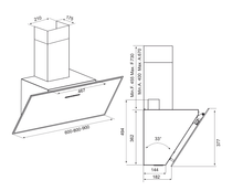 Airforce F203 60cm Angled Wall Mounted Cooker Hood - White Glass - Technical Drawing