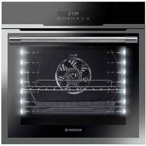 Hoover Vogue HOZ7173IN WF/E 60cm Mulitfunction Wi-Fi Oven with Full Touch Interface A+ - Black Glass and Stainless Steel - Front View
