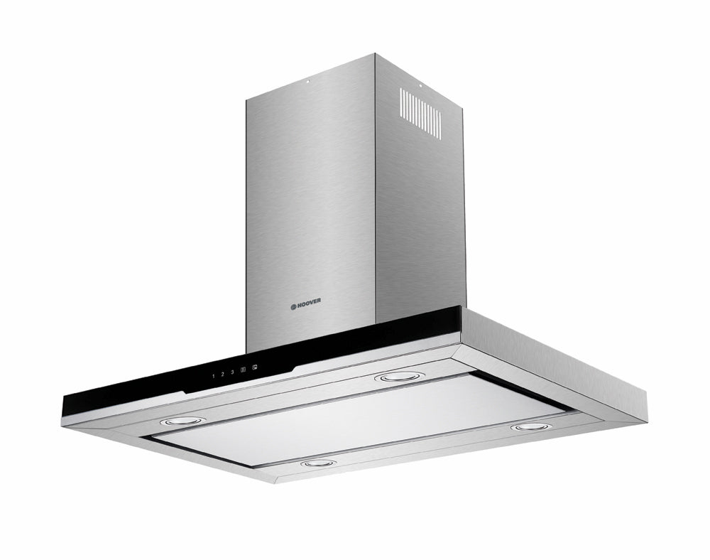 Hoover HDSVI985B 90cm Island Hood - Black Glass & Stainless Steel