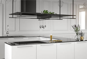 Airforce Frame 180cm Premium Island Cooker Hood - Black - Lifestyle Example