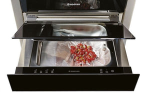 Hoover Vogue Premium HVSD14SV 15 cm Vacuum Sealer Drawer - Black Glass and Stainless Steel Open Door