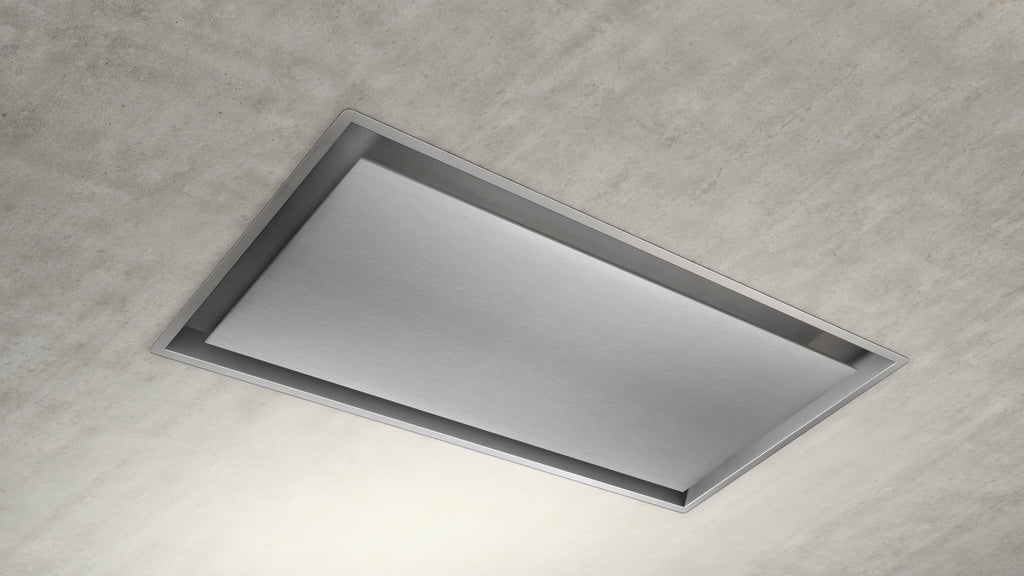 100cm Remote Control Ceiling Cooker Hood - Airforce Raffaello - Installed Example Paint-able Stainless Steel
