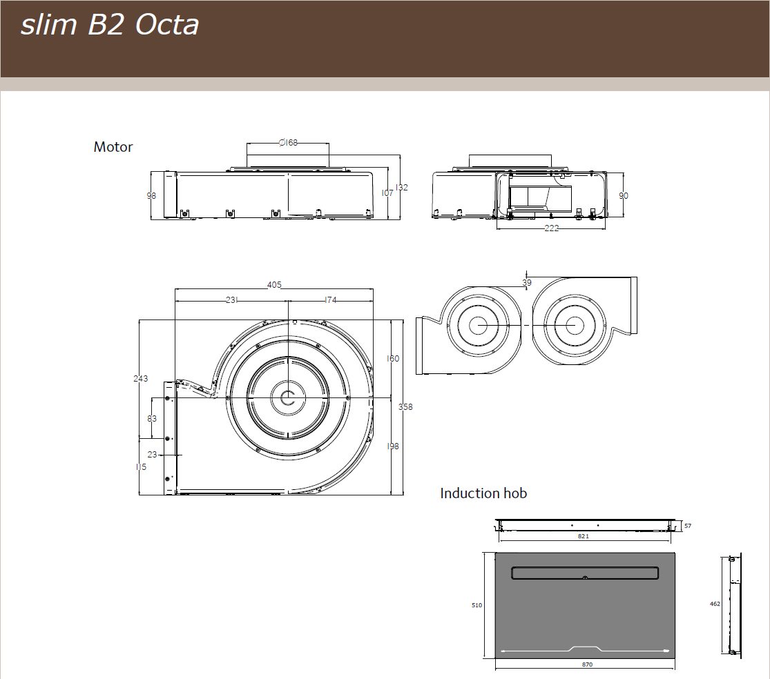 87cm Downdraft Induction Hob - Airforce Aspira Slim B2 Octa - Motor Technical Drawing