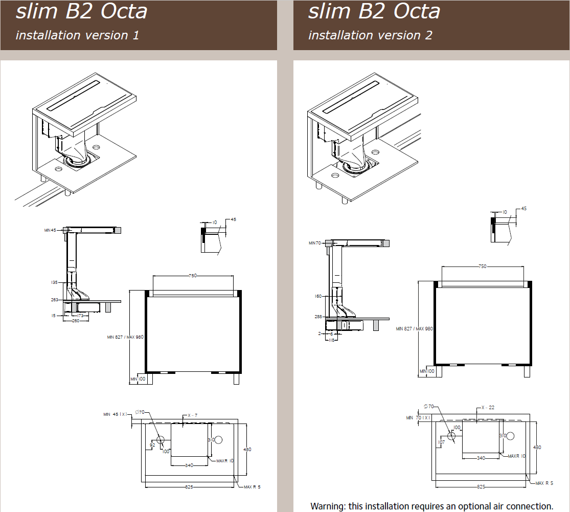 87cm Downdraft Induction Hob - Airforce Aspira Slim B2 Octa - Installation Technical Drawing