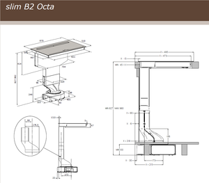 87cm Downdraft Induction Hob - Airforce Aspira Slim B2 Octa - Technical Drawing