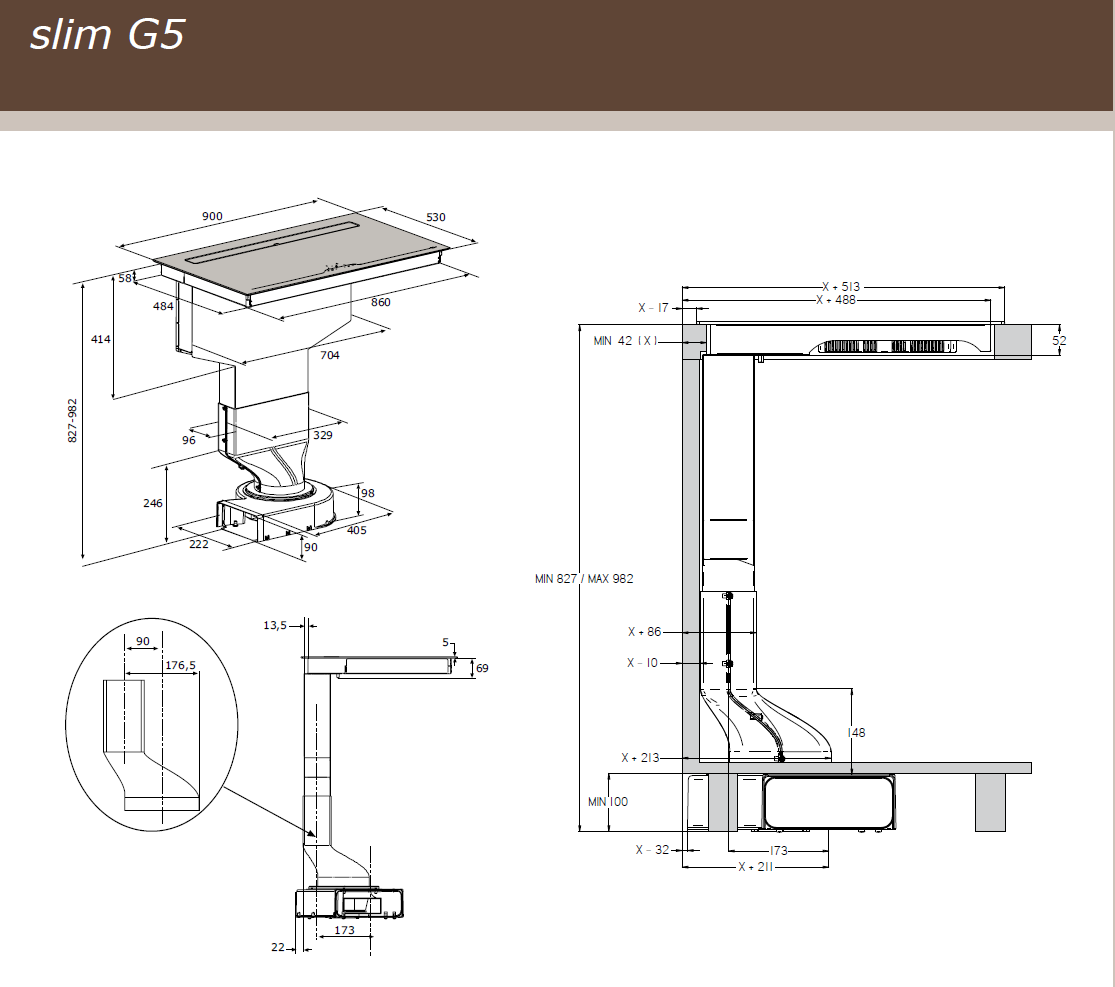 90cm Downdraft Flex Induction Hob - Airforce Aspira G5 Motion - Installation Technical Drawing