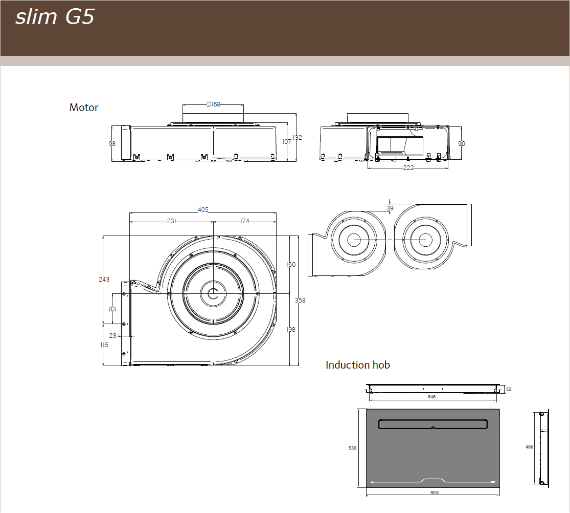 90cm Downdraft Flex Induction Hob - Airforce Aspira G5 Motion - Motor Technical Drawing