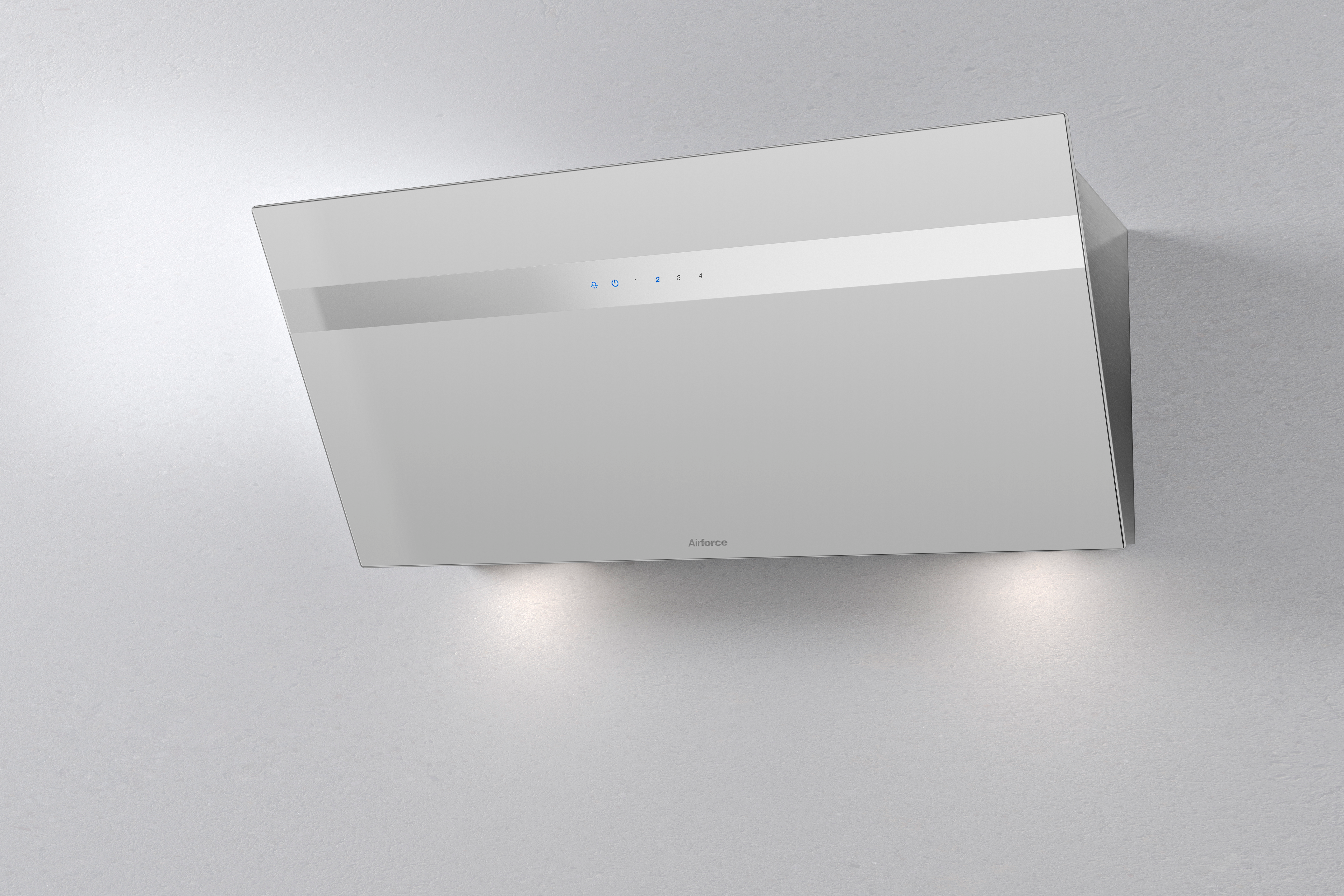 Airforce V4 90cm Angled Wall Mounted Cooker Hood - White glass