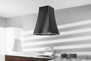 50cm Island Lamp Cooker Hood with Integra - Airforce Adel - Black - Lifestlye View