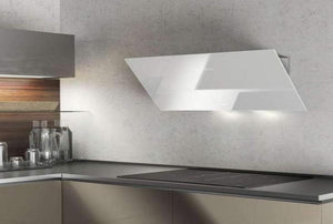 Airforce F203 60cm Angled Wall Mounted Cooker Hood - White Glass