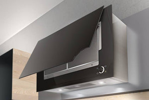 Airforce Vertical Drive In 90cm Wall Mounted Cooker Hood-Black glass Lighting Image