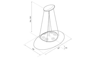 90cm Island LED Lamp Cooker Hood - Airforce Eclipse - Black - Technical Drawing