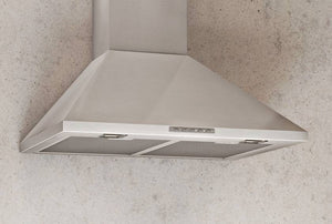 60cm LED Lamp Chimney Style Cooker Hood - Airforce F0 D2 - St/Steel - Installed Example