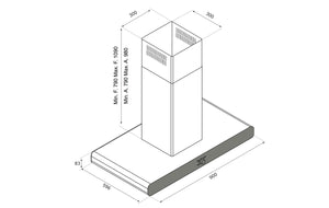 Airforce F121 Slim 90cm Island Cooker Hood - Technical Drawing