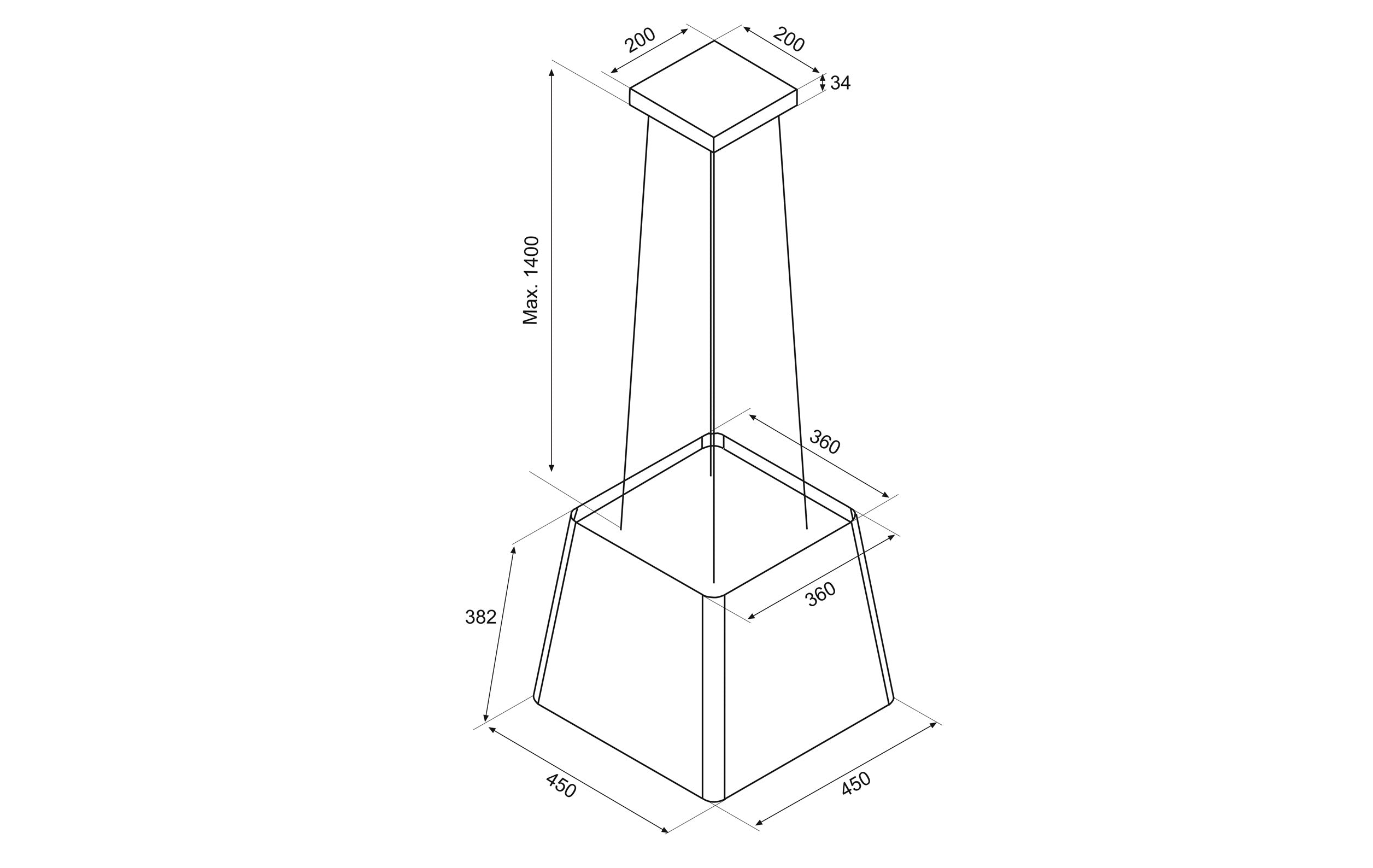50cm Island Lamp Cooker Hood with Integra- Airforce F164 - St/Steel Technical Drawing