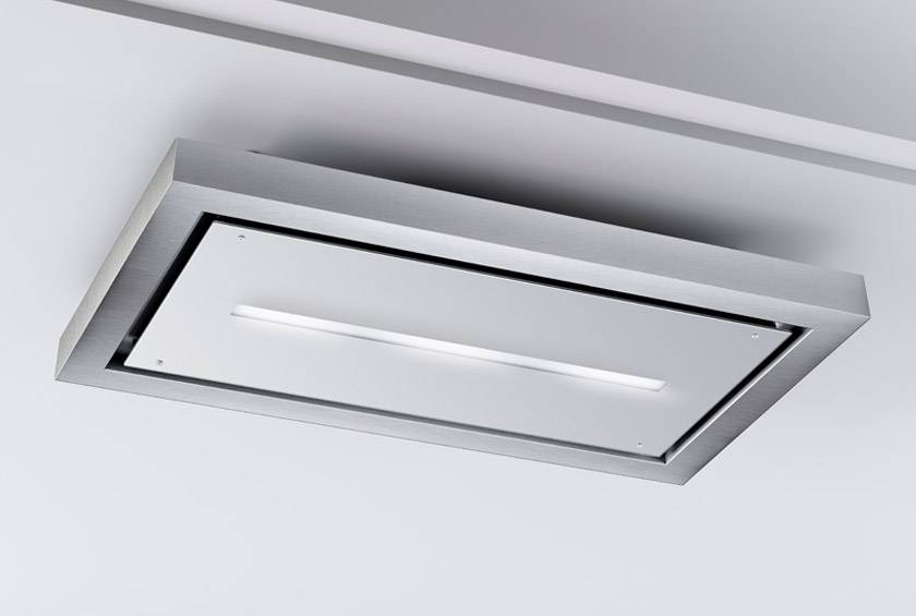 120cm Remote Control Ceiling Cooker Hood - Airforce F172 - White - Installed Example