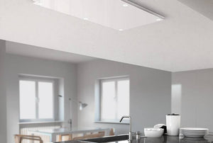 100cm Remote Control Ceiling Cooker Hood - Airforce F199 - White - Installed Example