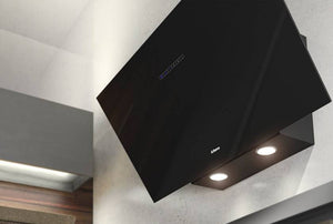 Airforce F203 60cm Angled Wall Mounted Cooker Hood - Black Glass - Large