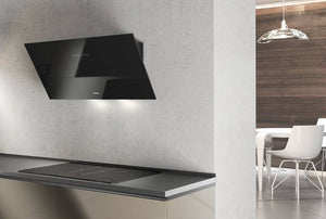 Airforce F203 60cm Angled Wall Mounted Cooker Hood - Black Glass