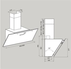 Airforce F203 90cm Automatic Angled Cooker Hood - Black Glass - Technical Drawing