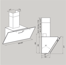Airforce F203 90cm Automatic Angled Cooker Hood - White Glass - Technical Drawing