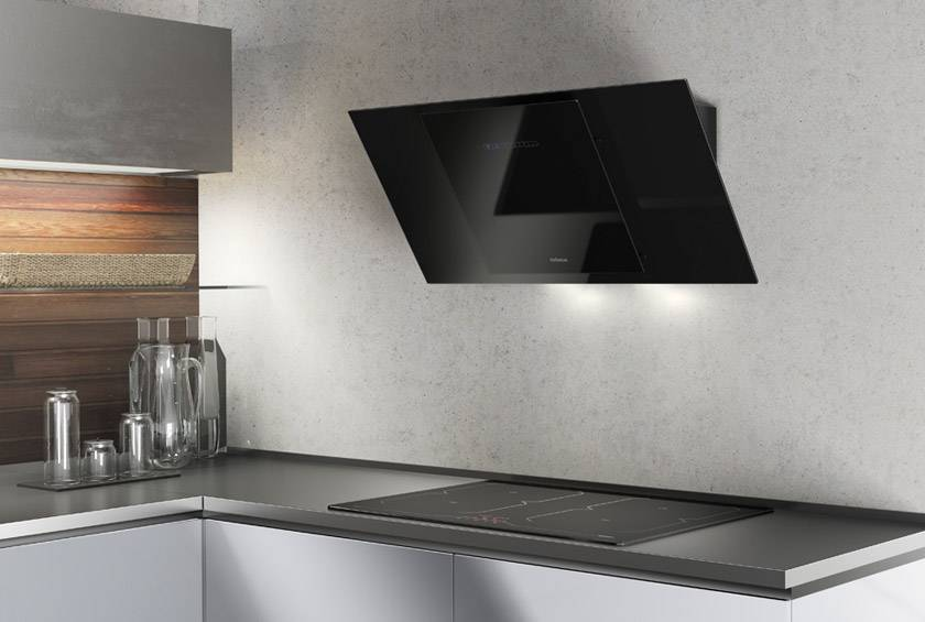 Airforce F204 90cm Automatic Angled Cooker Hood - Black Glass