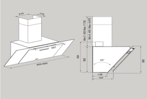 Airforce F204 90cm Automatic Angled Cooker Hood - White Glass - Technical Drawing