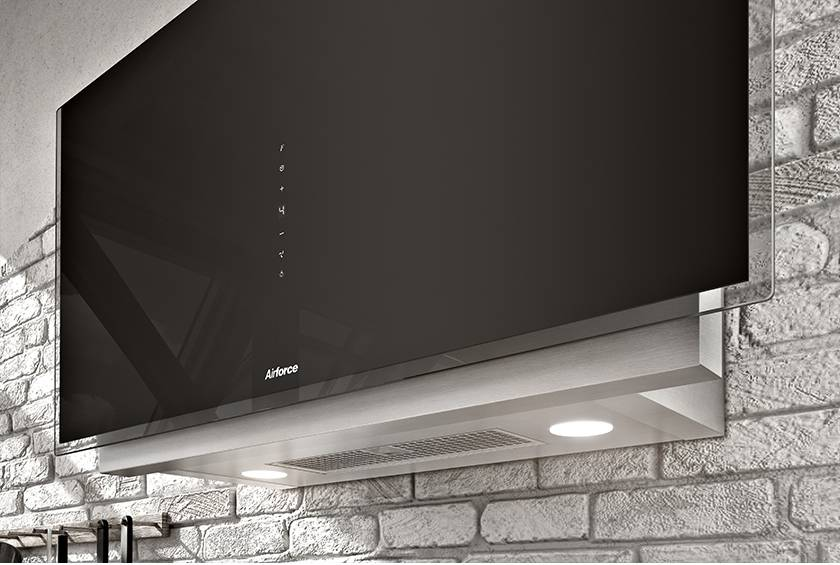Airforce Vertical Graphite 90cm Wall Mounted Cooker Hood-Black glass Lighting Image