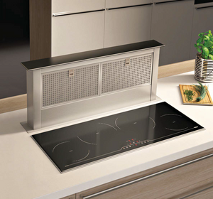 Airforce Integra B2 86cm Induction Hob with Downdraft Popup Cooker Hood - Black & Stainless Steel