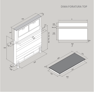 86cm Popup Downdraft Extractor & Induction Hob - Airforce Integra DD - Technical Drawing