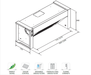 Airforce Integrata 60, 90 & 120cm Built-In Cooker Hood Stainless Steel - Technical Drawing