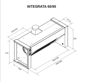 Airforce Integrata 60, 90 & 120cm Built-In Cooker Hood Stainless Steel - Technical Drawing 2
