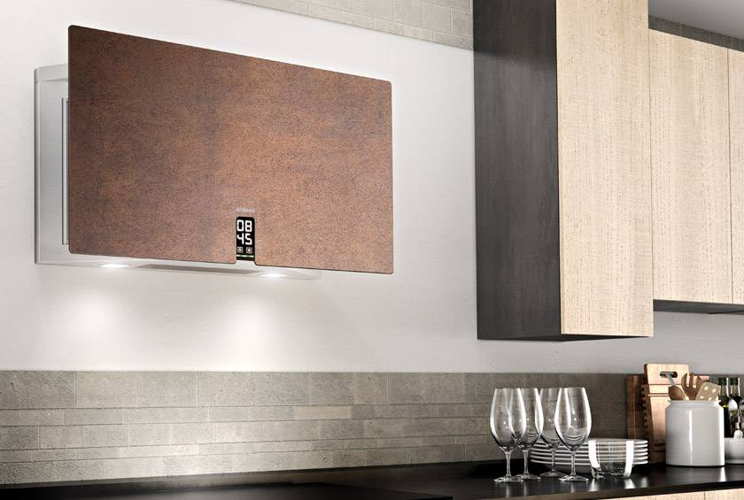 Airforce In Time Gres 83cm Flat Wall Mounted Cooker Hood - Brown Oxide