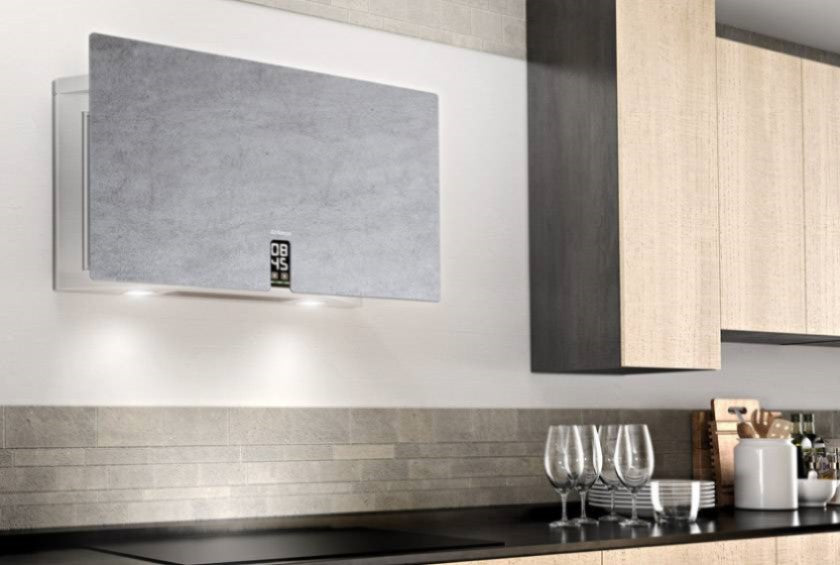 Airforce In Time Gres 83cm Flat Wall Mounted Cooker Hood - Grey Stone
