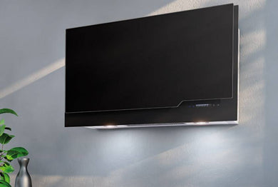 Airforce Vertical Mia 90cm Wall Mounted Cooker Hood- Black glass