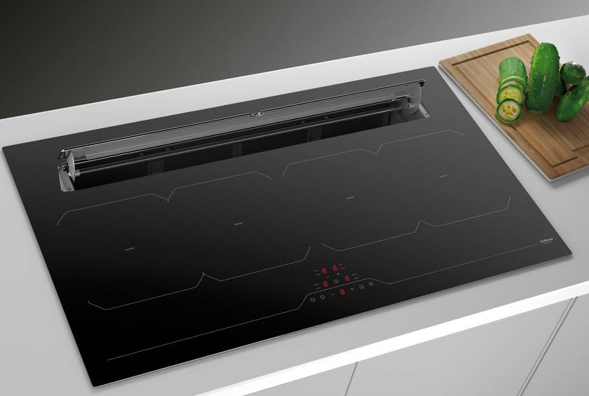 87cm Downdraft Induction Hob - Airforce Aspira Slim B2 Octa - Installed Example