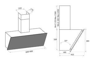 Airforce Gres V16 90cm Flat Wall Mounted Cooker Hood Brown Oxide Stone - Technical Image